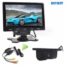 DIYKIT Wireless 7inch Touch Button Ultra-thin Car Monitor + Rear View Car Camera Wireless Parking Radar Sensor Assistance System
