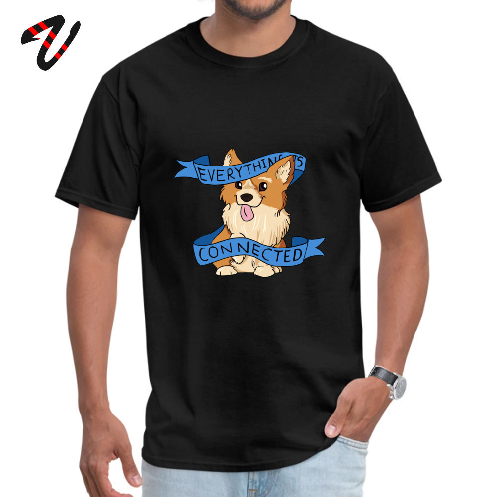 Oversized Everything is Connected Corgi Top T-shirts Fall Round Collar 100% Cotton Tops Shirts for Men Tee Shirts Casual Everything is Connected Corgi 11572 black