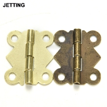 10 Pcs Wholesale DIY Repair Cabinet Drawer Jewelry Box Fashion Design Furniture Hinges Mini Butterfly Hinges Bronze Yellow Color(China)