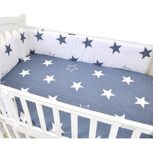 Buy 1PCS Baby Crib Cotton Bumpers Crib Newborn Cotton Linen Cot Bumper Baby Bed Protector Grey Stars Print Kids Bedding for $14.42 in AliExpress store