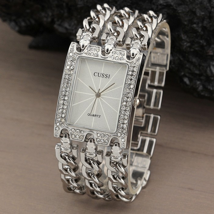 New Women Watch Luxury Wrist Watch Analog Quartz Watches Stainless Steel Fashion Rhinestone  Bracelet Three Chains Gifts Silver<br><br>Aliexpress