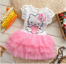 BibiCola 2017 summer baby girls hello kitty dresses bow princess lace dress lovely baby girl clothes Mini Tutu Dress Summer