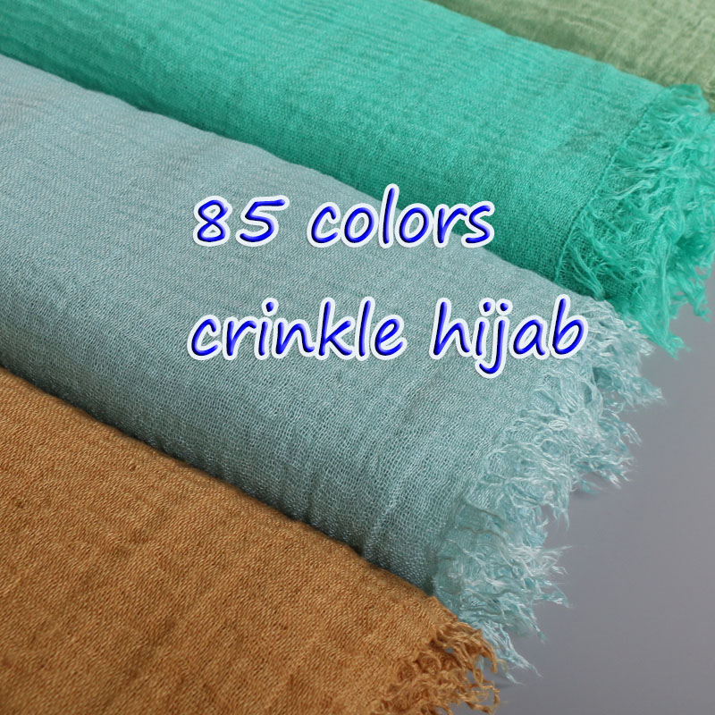 Women's Crinkled hijab Plain Wrinkle Bubble viscose long Scarf Women Crumple cotton Shawl and wraps Muslim headband bandana