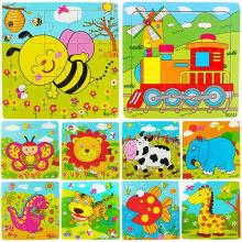 2017 New Multicolor Animals Wooden 9 Pieces Colorful Jigsaw Puzzle Toy Toddler for Kids 7LAH