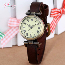 shsby New fashion hot-selling leather female watch ROMA vintage watch women dress watches(China)