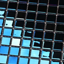 shining blue electroplated rainbow glass mosaic square for bathroom shower tiles kitchen wall glass tiles swimming pool mosaic