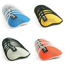 Free Shipping golf club headcover custom 9Pcs Golf Club Iron Head Cover Set Nylon Protection Case 5colors availeber