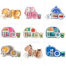 Children's Tableware Set Newborn Baby Girl Boy Bamboo Fiber Bowl Cup Spoon Plate Fork 5pcs/sets Cartoon Baby Dishes for Kids(China)