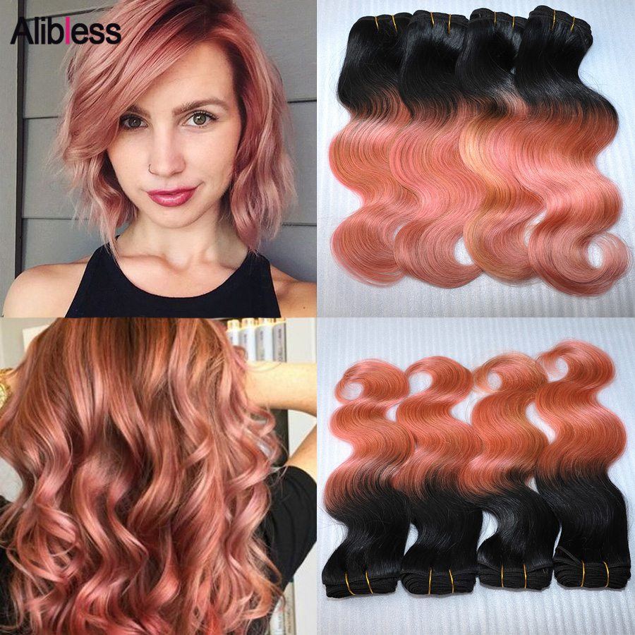 Virgin 7A Malaysian Ombre 1B Rose-Gold body wave hair bundle 4Pcs Lot,10-20 Nice wavy ombre Rose Gold human hair weave 100g/pc<br><br>Aliexpress