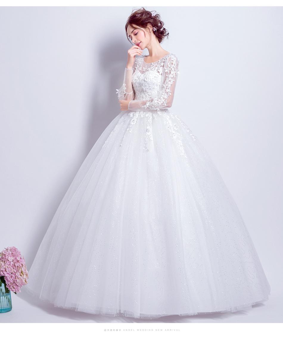 Angel Wedding Dress Marriage Bride Bridal Gown Vestido De Noiva 2017 Sweet, lace, flowers, long sleeves, 6011 13