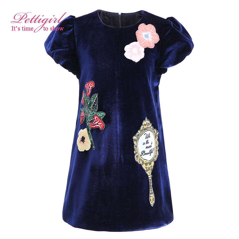 Age 2-12 Pettigirl Girls Dresses Children Clothing Floral With a Mirror  Straight Going Out Dress G-DMGD908-851<br><br>Aliexpress