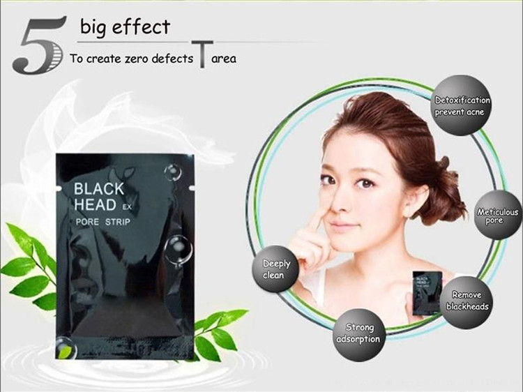 5 pcs/lot Beauty Face Care Nose Herbal Blackhead Remover Tool Mask Pore Strips Facial Skin Minerals Nose Black Head Cleaner 2