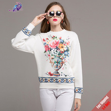 Free DHL UPS New Autumn Fashion Jacket 2017 Wemon's High Quality Runway Designer Flower Printed White Tops(China)