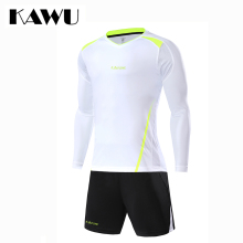 KAWU Custom Made 2017 football jerseys Set Men soccer tracksuit T Shirt + shorts Long Sleeve Sportwear maillot de foot S17020(China)