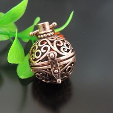 39618 Copper Brass Hollow Oval Filigree Locket Wish Box Necklace Pendant 28x25*21mm  4PCS