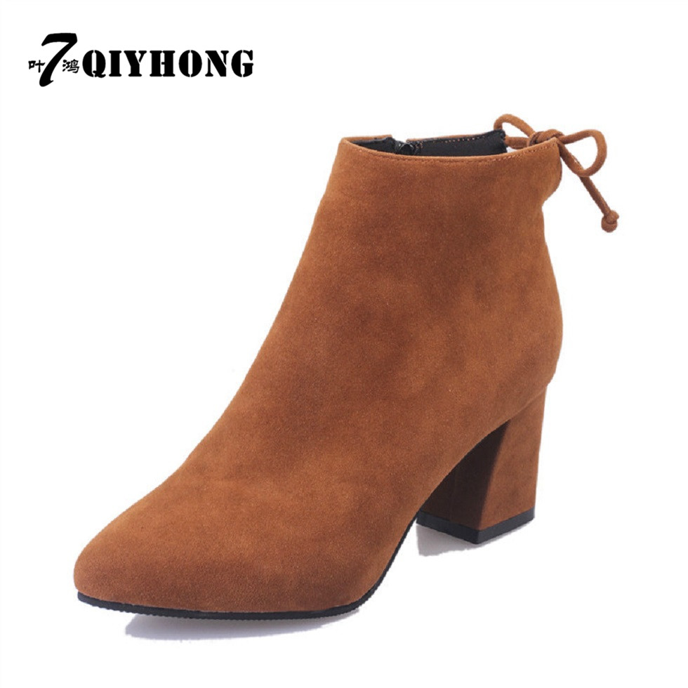 QIYHONG BRAND  Fashion Winter High Quality Velvet Boots With High-Heeled Scrub WomenS Boots And Ankle Boots New Women Shoes<br><br>Aliexpress