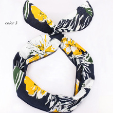 Rockabilly Wire Headband for Women Pinup Head Wrap Scarf Leaves and Floral Printed Bandana Korean Hair Accessories for Girls