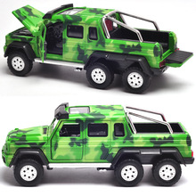 Size 18Cm Alloy Car 6 Wheels Truck Model, Scale 1/28 Metal Toy Car Strong Body 4 Open Door W/Light N Music(China)