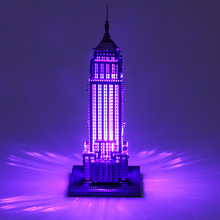 Creative 3D Metal Puzzle With Colored LED Lights DIY Assembly Building Empire State Building Lighthouse Model Jigsaw Puzzle