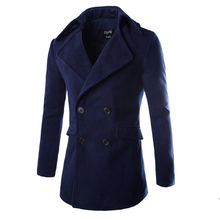 2015 Fashion High Quality Manteau Homme Winter Jacket Men Double Breasted Wool Long Trench Coat Stylish Pea Coats 8762