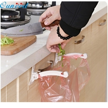 D-2 High Cost-Effective   1Pair Kitchen Door Cabinet Hook Rack Trash Bags Storage Garbage Handbag Rack