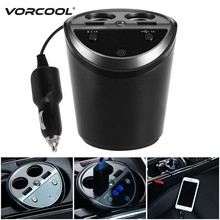 VORCOOL Multifunction Auto Car Cigarette Lighter Dual USB Charger Adapter Bluetooth Hands Free FM Transmitter for Phone Charger