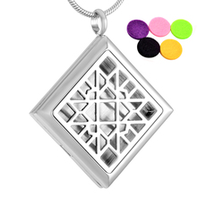 MJP0035 Hollow Out Rhombus Aromatherapy Perfume Locket Jewelry For Women Men Essential Oil Fragrance Diffuser Necklace
