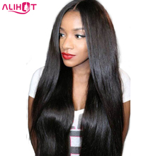 ALI HOT Brazilian Straight Hair 100% Human Hair Lace Front Human Hair Wigs Pre Plucked Bleached Knots Remy Hair Natural Color 1(China)