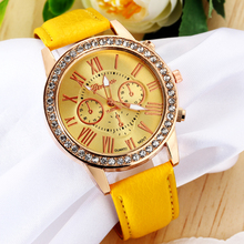 Fashion Yellow Jewelry Watches Gold Rhinestone Plated Casual Quartz Wrist Watch Women Fashion Stainless Steel Watches