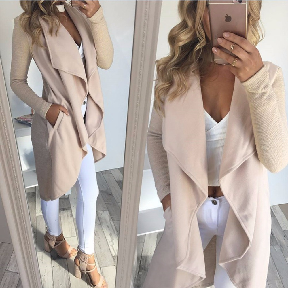 New 2017 Autumn Winter women elegant Waterfall Cardigan Ladies Long Sleeve Jumper Open Cardi Top Jacket Coat womens cardigans