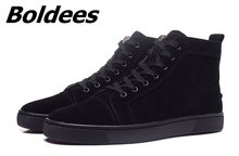 Boldees Classic Suede Men Shoes High Top Black Luxury Brand Lace Up Sneakers  Shoes Men Zapatos Hombre Casual Flats Gym Sneakers 35f84a33f796