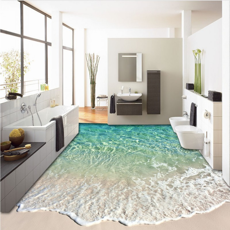 Free Shipping beautiful beach 3D landscape painting thickened bedroom living room bathroom study lobby office flooring mural<br>
