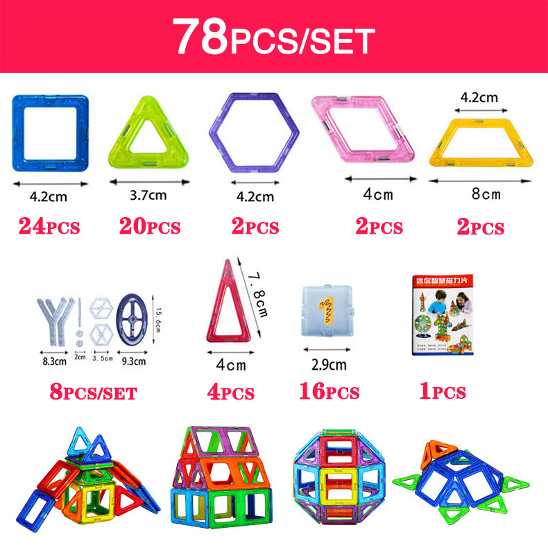BD Mini 78pcs/152pcs Magnetic Building Blocks Toys Construction Model DIY 3D Magnetic Designer Educational Toys Brick Kids Gift(China)
