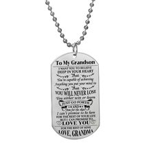Family Stainless Steel Jewelry Gift To My Grandson Love Grandma Pendant Beaded Chain Necklace Inspirational Kids Birthday