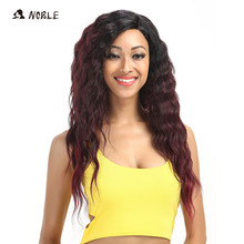 Noble Hair Products U Part Lace Front Wig 28 Inch Long Deep Wave Dark Root Synthetic Wigs For Black Women Free Shipping