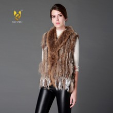 Fur Story 020101 Real rabbit fur vest with raccoon fur collar knit gilet coat vest Nature color grass yellow