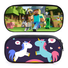 Cute Minecraft Unicorn Pencil Case for Girls Boys Canvas Big Capacity Multifunction School Stationery Bag Pencilcase Pen Box(China)