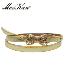 Women Luxury thin Belt PU Leather gold Wedding Belt with Hollow Out Metal Bowknot Buckle for Dress(China)
