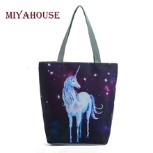 Buy Miyahouse Wholesale Casual Women Canvas Tote Handbags Unicorn Design Beach Bags Female Galaxy Print Shopping Shoulder Bags for $5.78 in AliExpress store