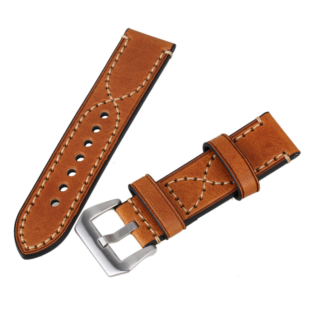 Brand Hastyle Brown 24mm Width Genuine Retro Leather Strap Steel Buckle Men Wrist Watch Band Belt With two Table needles<br><br>Aliexpress