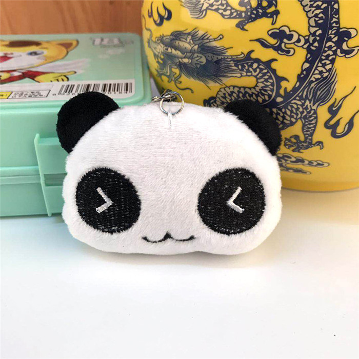 Fashion Panda Emoji Plush Toys Key Chain Ring Pom Bear Keychain Woman Bag Charms Man Car Keyring Wedding Party Trinket Jewelry (20)