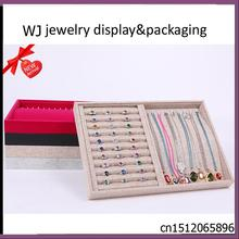 Fashion Jewelry Display Tray Ring Stand Earring Stud Holder Organizer Necklace Storage Boxes Jewellery Carrying Showcase 4Colors