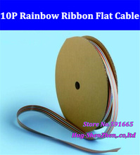 10 WAY Flat Color Rainbow Ribbon flat Cable wire 10P ribbon cable 1.27MM pitch for 2.54mm pitch FC connector 61meter(China)