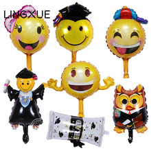 graduation emoji expression balloons for graduation ceremony congrats doctorial hat/ smile balloons Dr party decoration globos