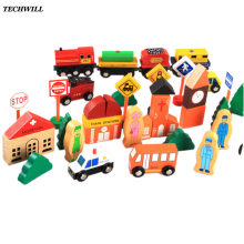Wooded City Traffic Building Blocks Scenes Toys For Children Baby Pretend Play Traffic Toys Colorful Geometry Educational Toys(China)