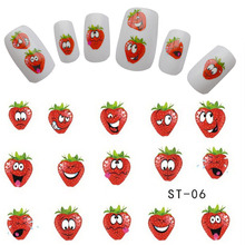 1pcs Nail Art  Cute Express Smiles Strawberry Fruit Designs Decals Nail Art Stickers Watermark Tattoos on tips nails TRST-06