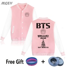 MULYEN BTS Kpop Bangtan Boys Baseball Uniform Women Jungkook Jimin V Suga Pink Jacket Fleece Hoodies Women Sweatshirt