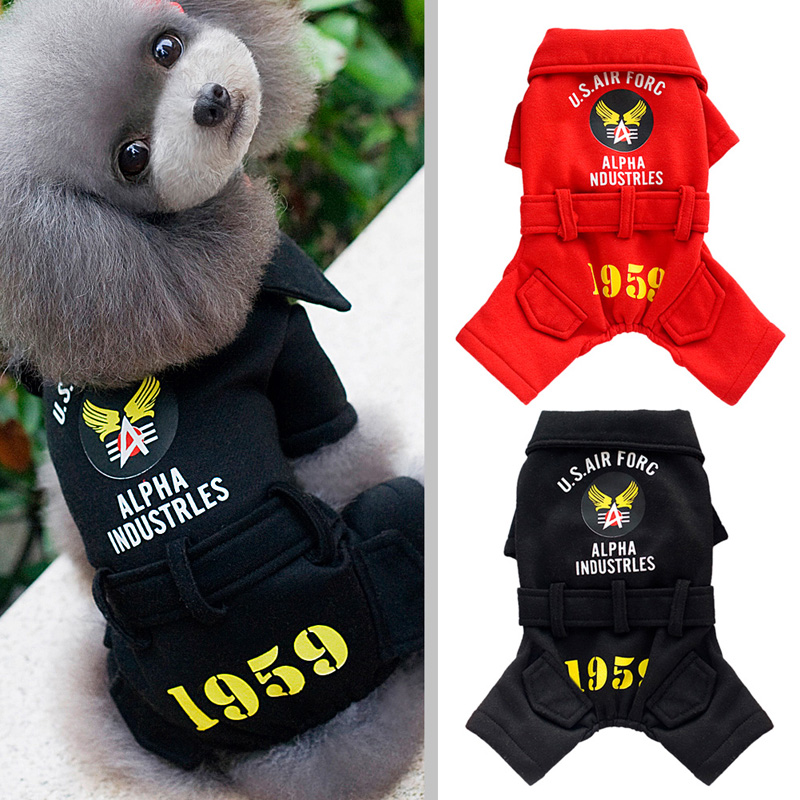 Unique Cute Pet Dog Puppy Hoody Clothes Warm Winter Pet Uniform Hoodies Jumpsuit Coat Four Leg Clothing for Pet Red/Black(China (Mainland))