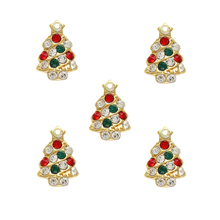 10pcs Gold Colorful Crystal Holiday Tree Festive Christmas Charm 3D Alloy Nail Art Accessories MC2(China)