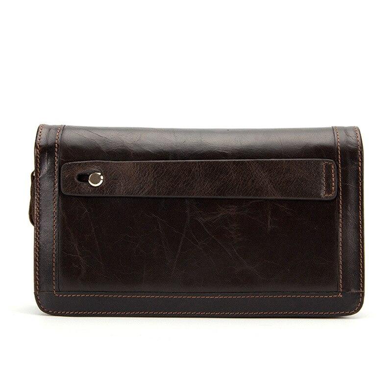 YISHEN Business Genuine Cow Leather Men Wallets Long Style Double Zipper Male Clutch Wallet Card Holders Bags Men Purse MLT9013<br>